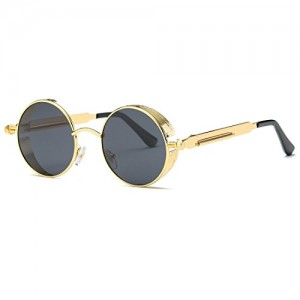AEVOGUE Polarized Sunglasses Steampunk Round Lens Metal Frame Unisex Glasses AE0519 (Gold&Black, 49)