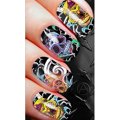 NAIL ART SET A SHEET OF WATER NAIL TRANSFERS SUGAR SKULLS d67 FOR FULL HOLLYWOOD NAILS!