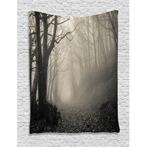 Ambesonne Gothic Decor Collection, Path on the Gothic Forest Trees Foggy Mysterious Nature Monochrome Art, Bedroom Living Room Dorm Wall Hanging Ta...