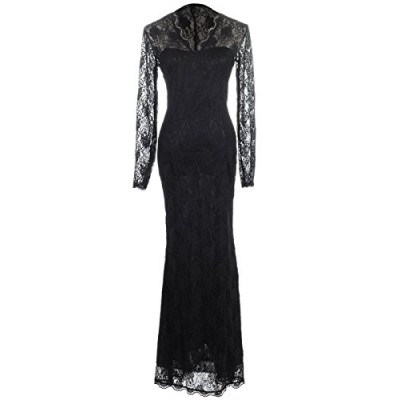 Anna-Kaci Womens Black Gothic Floral Lace Long Sleeve Maxi Evening Gown Dress, Black, Medium