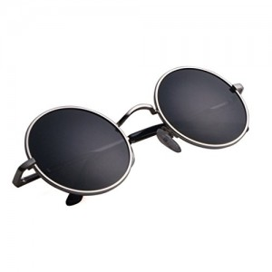 Aoron Vintage Round Sunglasses with Polarized Lenses for Retro Women and Men (Silver Frame, 46mm lens width)