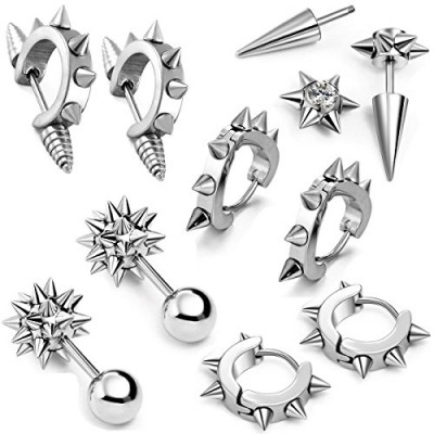 Aroncent 3/5 Pairs Stainless Steel Mens Womens Stud Earring Piercing Spike Rivet Cone Taper Ear Stud