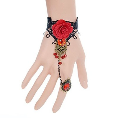 ArRord Handmade Retro Black Lace Vampire Gothic Jewelry Women Bracelet and Ring With Flower for Dinner Birthday Wedding Bridal Party