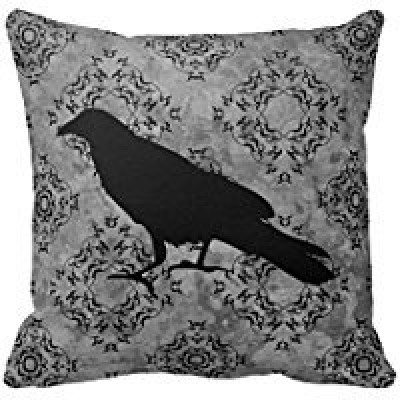 B Lyster shop Gothic Halloween Black Crow Raven On Gray #4053W Cotton & Polyester Soft Zippered Cushion Throw Case Pillow Case Cover