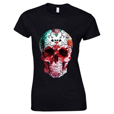 Women's Rose Flower Skull 1 T Shirt Black XXL