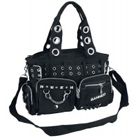 Banned Apparel Handcuff Black Canvas Silver Studded Vegan Gothic Handbag