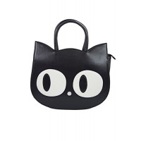 Banned Apparel Kawaii Gothic Lolita Big Eyed Big Eye Cat Black Cat Face Handbag