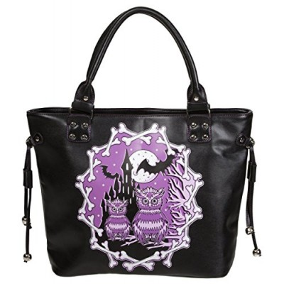 Banned Apparel Lost Queen Halloween Owls & Bats Purple Black Faux Leather Purse