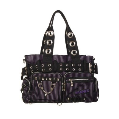 Striped Punk Rock Steampunk Purse with Handcuff Skull