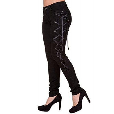 Banned Gothic Rockabilly Steampunk Black Side Corset Skinny Jeans Pants (S)