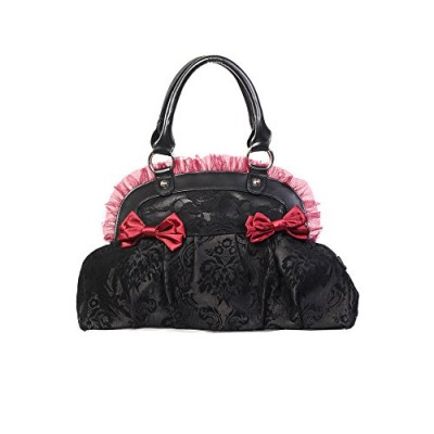 Banned Reinvention Alternative Gothic Lace Bag - Black/Burgundy / One Size
