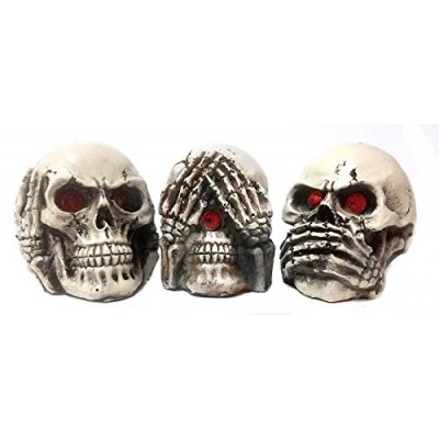 Bellaa 24160 The Hear-no, See-no, Speak-no Evil Skull Statue Sculpture Figure Skeleton
