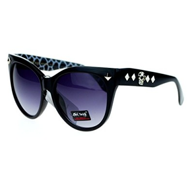 Black Society Skull Stud Womens Oversize Horn Rim Cat Eye Sunglasses Reptile Print
