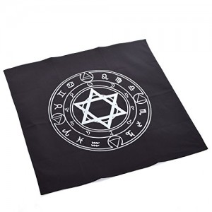 BLESSUME Altar Tarot Tablecloth Black Square Wicca Hexagram Tapestry