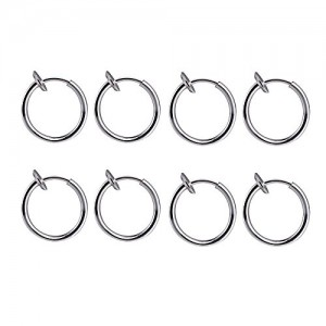 BODYA 4 Pair!8 of Surgical Steel Clip on Non-pierced Hoops Fake Nose Lip Ear Rings (13mm (1/2 Inch)) Piercing (Silver-8pcs)