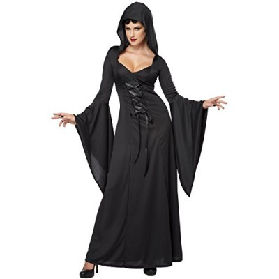 California Costumes Women's Deluxe Hooded Robe Sexy Long Dress, Black, Small