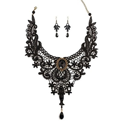 Charm.L Grace Black Lace Gothic Lolita Pendant Choker Necklace Wedding Halloween Accessories