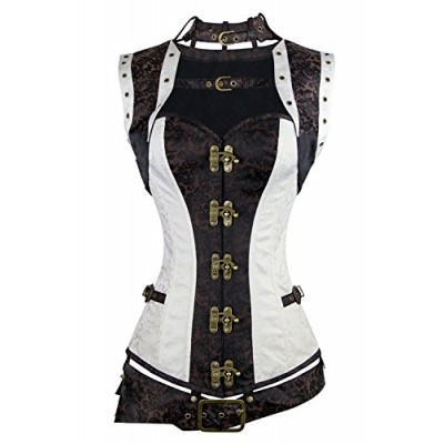 Charmian Women's Plus Size Spiral Steel Boned Renaissance Vintage Steampunk Bustier Corset Top with Jacket and Belt Brown-White XXXXX-Large