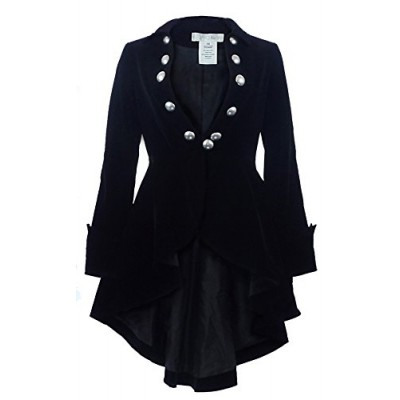 CS The Velvet Wine Waterfall Victorian Gothic Ruffle Style Jacket-USA Stock! (XS, Black)
