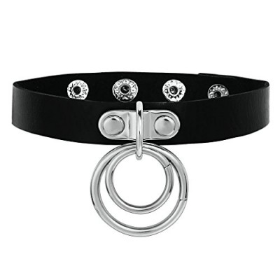 Daesar Womens Choker Necklace Gothic Double O Ring Leather Collar Black Silver Neckalce 39.5x3.7CM