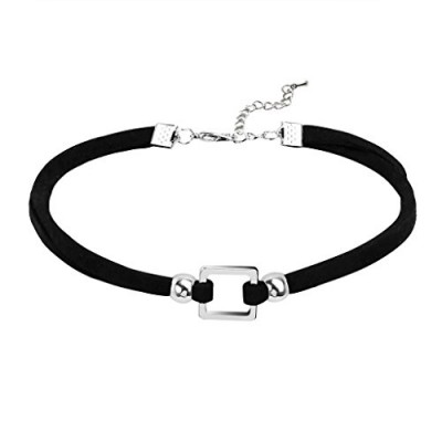 Daesar Womens Choker Necklace Stainless Steel Velvet Gothic Square Collar Chain Black Silver 32.8+5.8CM