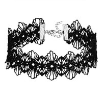 Daesar Womens Necklace Lace Trim Design Flower Tattoo Gothic Black Choker Necklaces Length 34+5.3CM