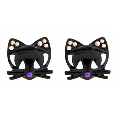 DaisyJewel Halloween Good Fortune Black Cat Stud Earrings