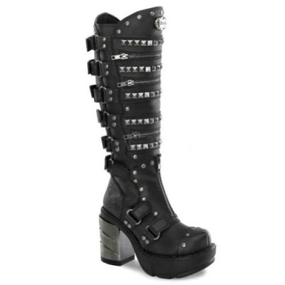 "DEMONIA SINISTER-301 Women's 3 1/2"" Chromed ABS Heel, 1 1/2"" Moulded Pu PF Knee Boots"