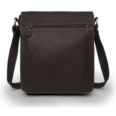 Leather Messenger Bag - Vertical Laptop Briefcase Shoulder Slingbag (Chocolate)