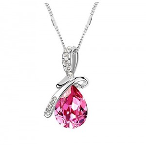 The Dream Angle Tear Romantic Style Sliver Plated Pink Pendant