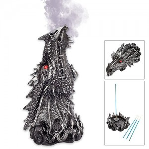 Metallic Black Gothic Red Eyed Dragon Incense Burner Box Statue
