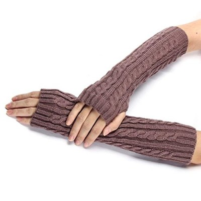 DZT1968® Autumn Winter Women Girl Long Knit Fingerless Arm Warmer Gloves (Dark Pink)