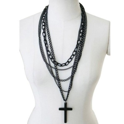1Pcs Fashion Retro Multi-layer Chains Pendant Black Cross Metal Long Necklace