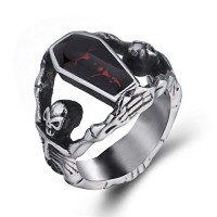 Elfasio Men's Stainless Steel Band Ring Gothic Vampire Skeleton Bloody Red Enamel Coffin Bike (size 8)