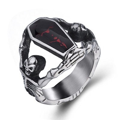 Elfasio Skull Rings for Men Stainless Steel Gothic Vampire Bloody Red Enamel Coffin Bike Jewelry Size 8