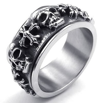 Stainless Steel Tribal Cross Skeleton Spinner Gothic Black Silver Ring