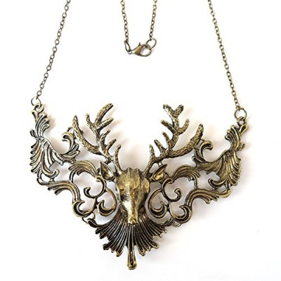 Eternity J. Vintage Pierced Cutout Reindeer Statement Necklace Antique Steampunk Vampire Pendant Chain