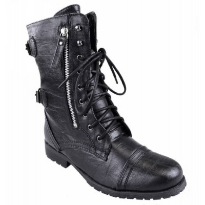 Fashion Thirsty Womens Army Combat Lace Up Zip Grunge Military Biker Trench Punk Goth Ankle Boots Shoes (UK 9, Black Faux Leather)
