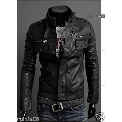 Punk Bomber Slim Fit Faux Leather Jacket Blazer