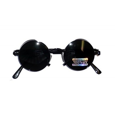 2441/95 (Antique Black) Lennon Style Steampunk Glasses