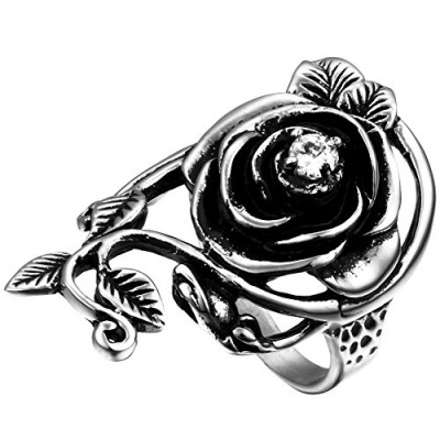 Flongo Womens Ladies Gothic Stainless Steel Rose Flower Vine Band Ring, Size 7