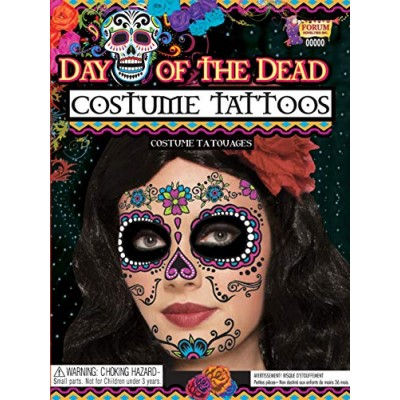 "Forum Novelties - DAY OF DEAD FACE TATTOO, 5""x 6"" sheet, One size fits most"