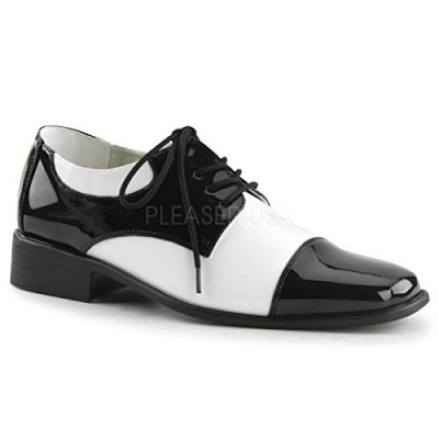Funtasma by Pleaser Men's Halloween Disco-18,Black Patent/White Patent,L