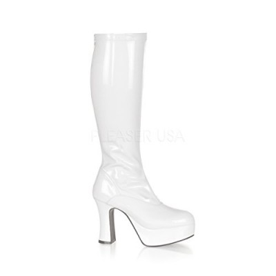 Funtasma by Pleaser Women's Exotica-2000 Boot,White Stretch Patent,9 M