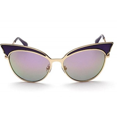 GAMT Trend Retro Sexy Cat Eye Sunglasses Yurt Sun Glasses Purple Frame Purple Green Lens