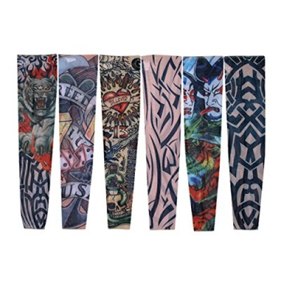 H88 - Fake Nylon Temporary Tattoo Sleeves Arm Stockings Goth Punk 6 Pcs