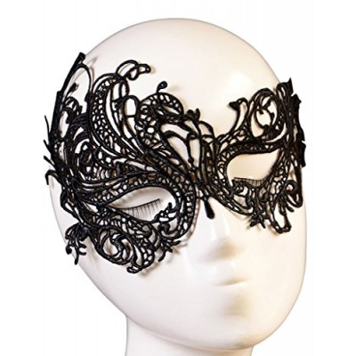 Happy Sailed Women's Halloween Masquerade Party Gothic Black Lace Mask, One Size Black