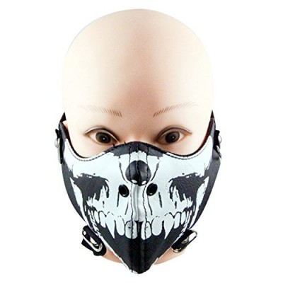 Cosplay Noctilucence Skull Leather Face Mask Costume Mouth Muffle