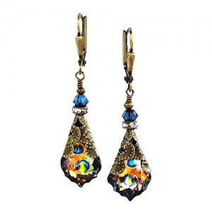 HisJewelsCreations Baroque Crystal Vintage Inspired Drop Earrings (Blue/Peacock)