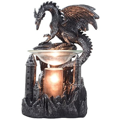 Mythical Winged Dragon Guarding Castle Electric Oil Warmer or Wax Tart Burner for Decorative Medieval & Gothic Decor Statues and Figurines As Aroma...